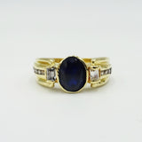 18ct Yellow Gold Oval Blue Stone & Cubic Zirconia Ring 5.4g - Richard Miles Jewellers