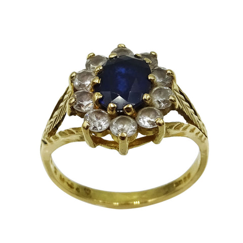 22ct Yellow Gold Sapphire & Cubic Zirconia Cluster Ring Size N - Richard Miles Jewellers