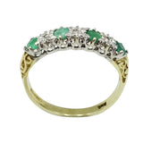 9ct Yellow Gold Emerald & Diamond Half Eternity Ring Size N - Richard Miles Jewellers