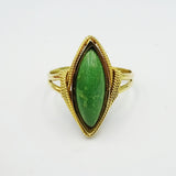 18ct Yellow Gold Green Stone Marquise Ring Size U 1/2 - Richard Miles Jewellers