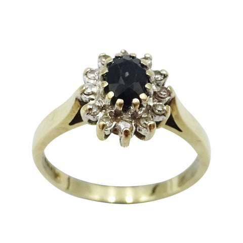 9ct Yellow Gold Sapphire & Diamond Cluster Ring 0.10ct 2.8g - Richard Miles Jewellers