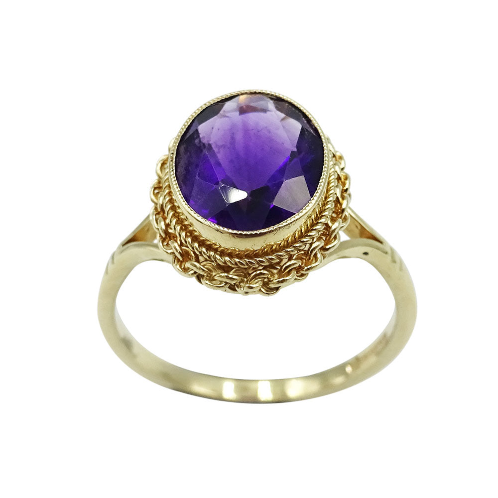 9ct Yellow Gold Amethyst Oval Dress Ring 2.8g - Richard Miles Jewellers
