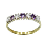9ct Yellow Gold Amethyst Cubic Zirconia Eternity Ring - Richard Miles Jewellers