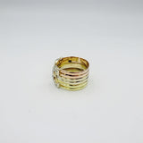 18ct 3 Colour Yellow Rose White Gold Fancy CZ Horse Shoe Ring Size N 1/2 6.1g - Richard Miles Jewellers