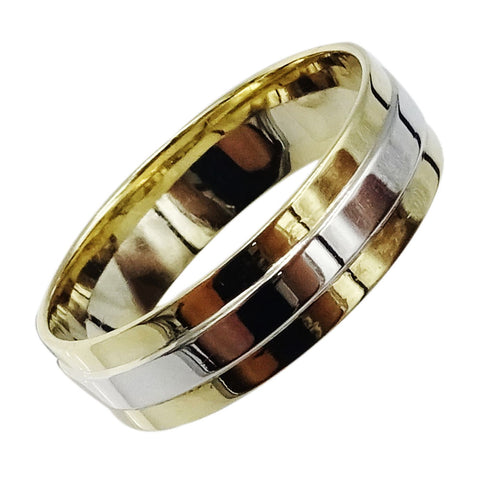 9ct Yellow White Gold 375 Hall Marked 3 Row Mens Wedding Band 6mm 4g Size U