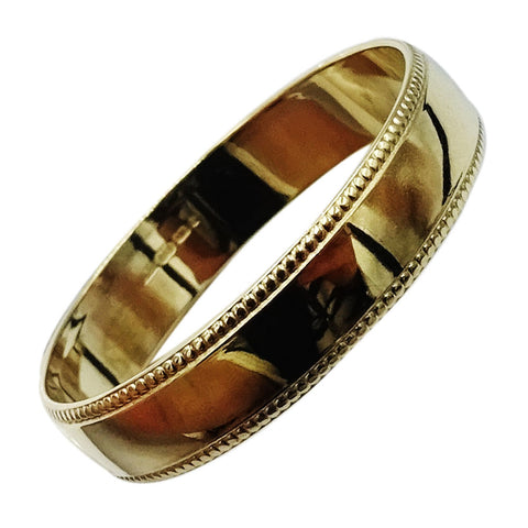 9ct Yellow Gold 375 Hall Marked Millgrain Border Wedding Band 4mm 1.4g Size N - Richard Miles Jewellers