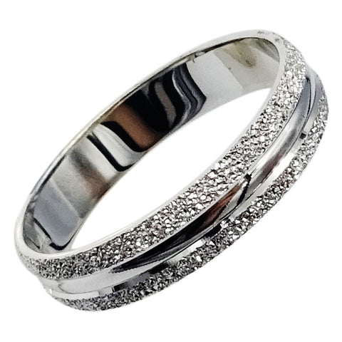 9ct White Gold 375 Stamped Frosted Border Shiny Ladies Band 4mm 2.4g Size  O 1/2 - Richard Miles Jewellers