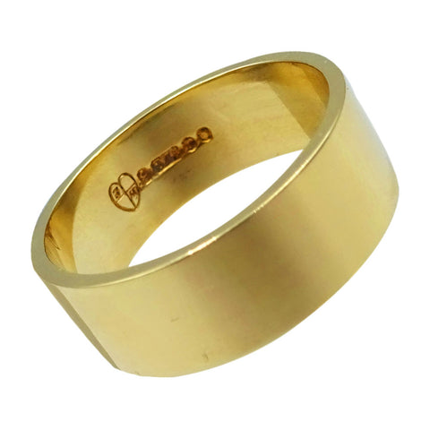9ct Yellow Gold Wide Flat Unisex Wedding Band Size P 4.5g 6.75mm - Richard Miles Jewellers