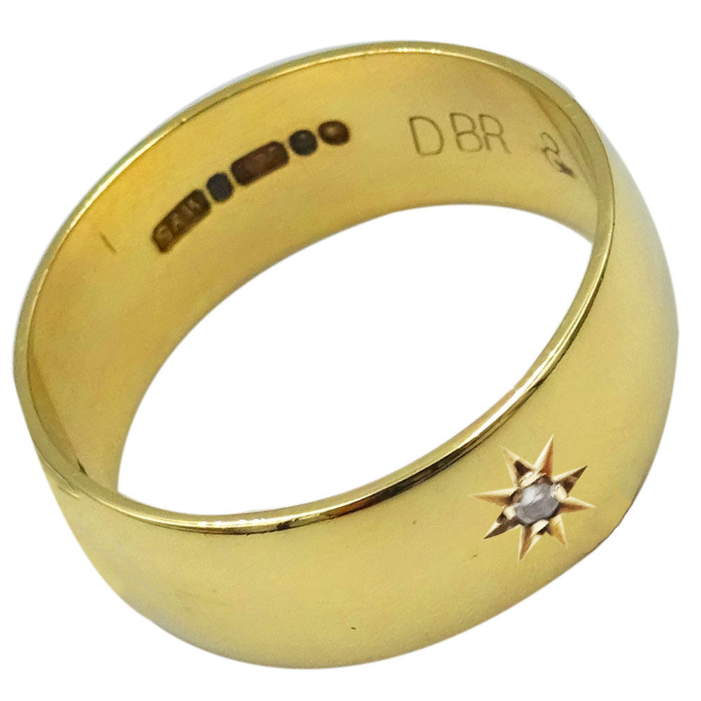 9ct Yellow Gold 0.02ct Diamond D Shaped Mens Band Size S 1/2 7.65mm 5.6g - Richard Miles Jewellers