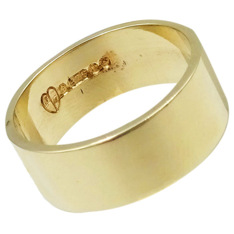 9ct Yellow Gold Flat Ladies Shiny Finish Wedding Band Size L 3.9g 6.75mm - Richard Miles Jewellers