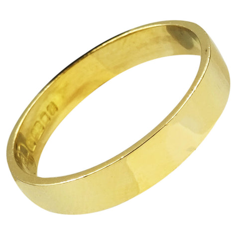 22ct Yellow Gold Quality Smooth Finish Wedding Band Size Q 3.5g 3.7mm - Richard Miles Jewellers