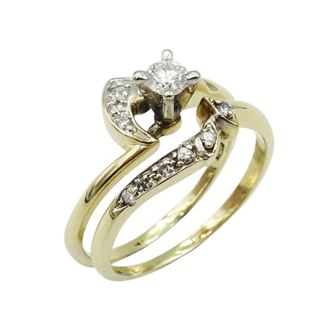 14ct Gold Diamond Engagement & Wedding Ring Set 0.25ct - Richard Miles Jewellers