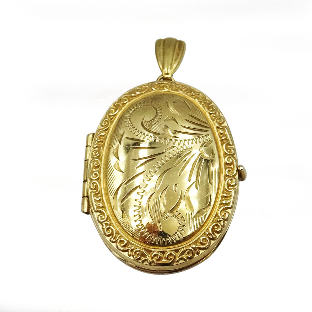 Second Hand 9ct Yellow Gold Ladies 4 Photo Frame Floral Oval Locket 3.8g - Richard Miles Jewellers