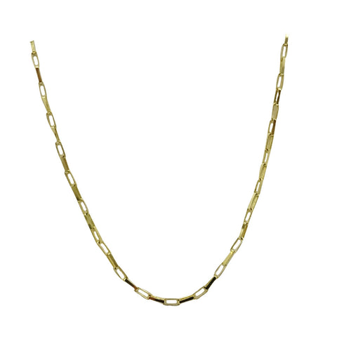 9ct Yellow Gold Fine Rectangle Belcher Style Unisex Chain 20inch 1.5g