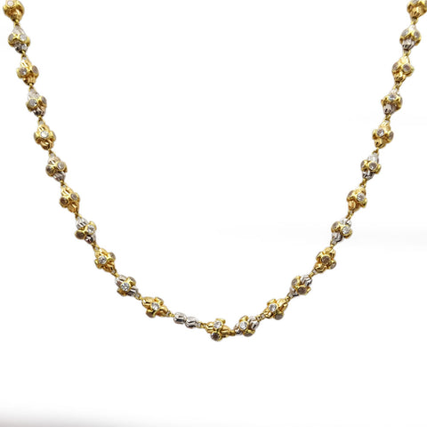18ct Multicoloured Gold & Cubic Zirconia Fancy Beaded Necklace 21 Inch 17g - Richard Miles Jewellers