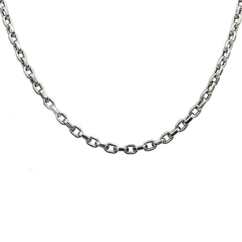 "9ct White Gold Square Belcher Chain 22"" 15.4g - Richard Miles Jewellers"