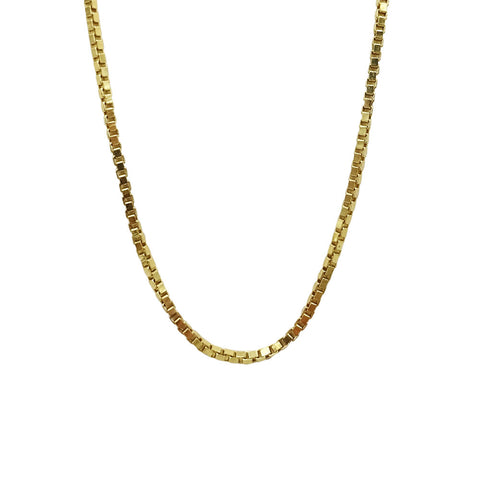 "18ct Yellow Gold Fine Box Chain Necklace 16"" 2g - Richard Miles Jewellers"