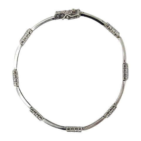 9ct White Gold Cubic Zirconia Tennis Ladies Bracelet 7.25inch 5.3g 2.5mm - Richard Miles Jewellers