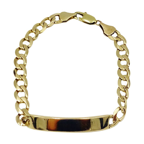 9ct Yellow Gold Quality Men's Curb ID Engravable Bracelet 9inch 20g 7.7mm