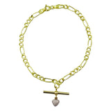 9ct Yellow Gold Figaro Fancy Ladies T Bar CZ Heart Charm Bracelet 7inch 1.6g - Richard Miles Jewellers