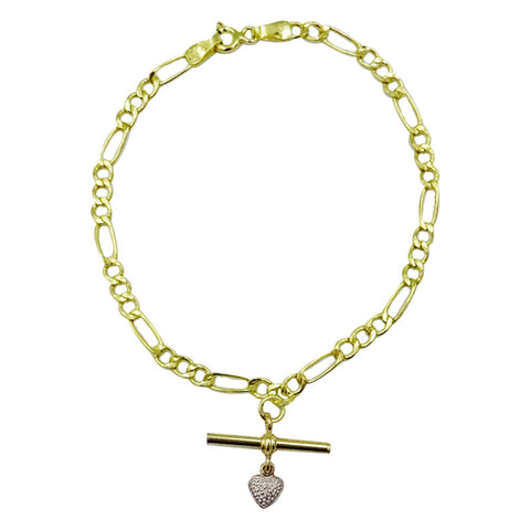 9ct Yellow Gold Figaro Fancy Ladies T Bar CZ Heart Charm Bracelet 7inch 1.6g