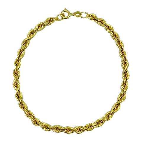 9ct Yellow Gold Unisex Rope Style Bracelet 4.35mm 8inch 2.8g