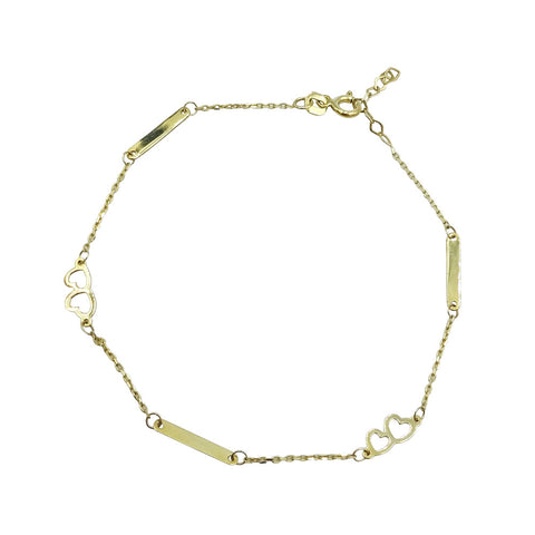 333  Yellow Gold Fine Dainty Heart Chain Bracelet 7.5""