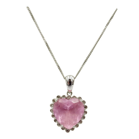 14ct White Gold Unique Pink Cubic Zirconia Heart Pendant 9ct Fine Chain 16inch 5g - Richard Miles Jewellers