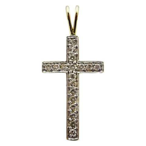 9ct Yellow Gold 375 Stamped Round Cubic Zirconia Ladies Cross 28.3mm 1.5g