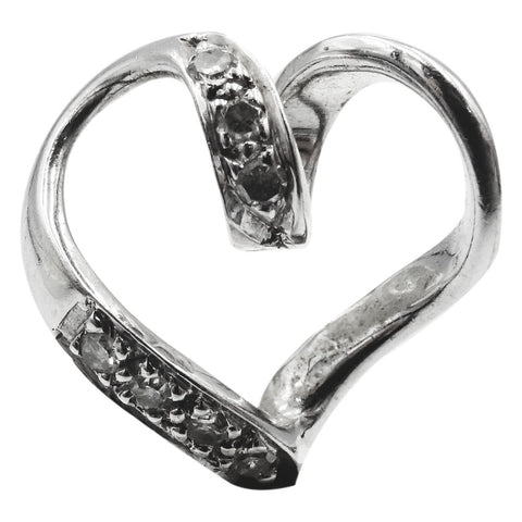 9ct White Gold 375 Stamped 0.05ct Diamond Swirl Heart Ladies Pendant 12mm