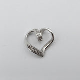9ct White Gold 375 Stamped 0.05ct Diamond Swirl Heart Ladies Pendant 12mm - Richard Miles Jewellers