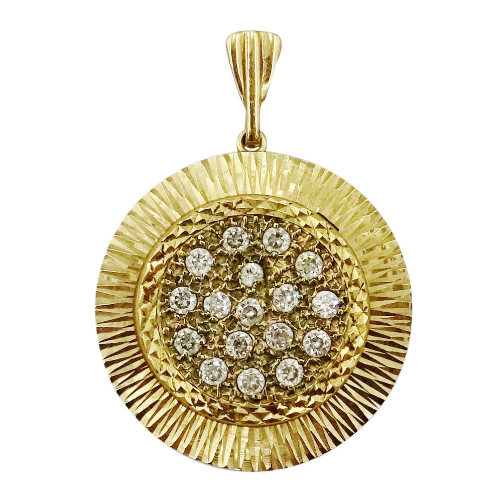 9ct Yellow Gold Cubic Zirconia Detailed Dish Pendant/Charm 25mm 3.5g - Richard Miles Jewellers