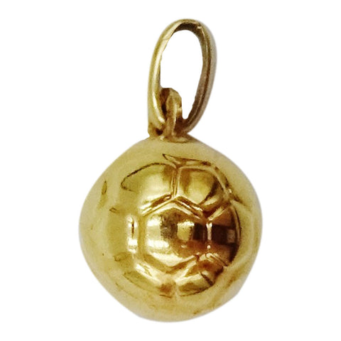 9ct Yellow Gold 3D Football Charm/Pendant 0.8g 17.75mm