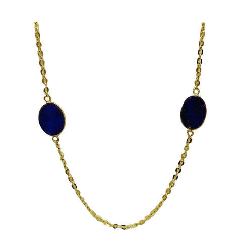 14ct Yellow Gold Fancy Lapis lazuli Long Ladies Necklace 28inch 4.5g
