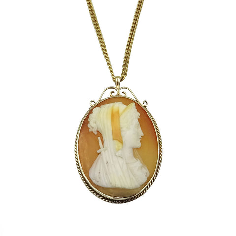 9ct Yellow Gold Pink Oval Cameo & Chain 12.8 g