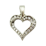9ct White Gold Heart Cubic Zirconia Cluster Pendant 1.9g - Richard Miles Jewellers