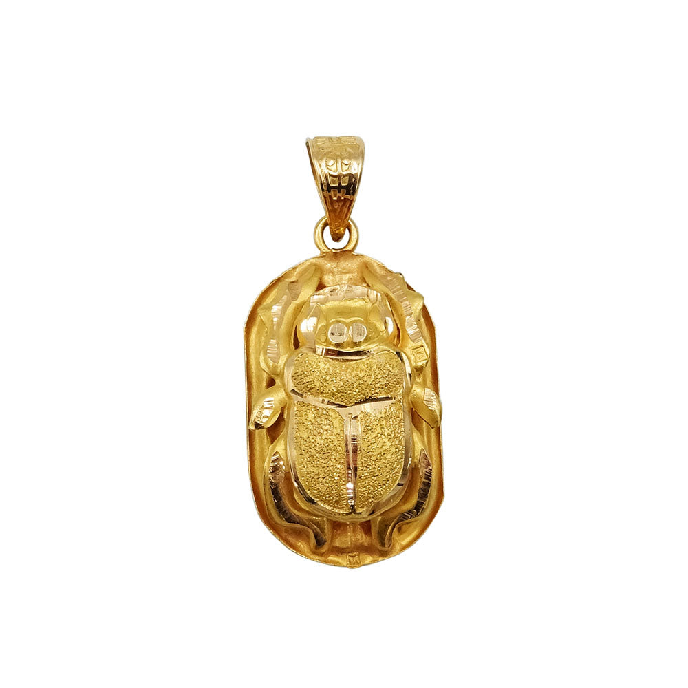 18ct Yellow Gold Egyptian Scarab Beetle Pendant 3.1g - Richard Miles Jewellers
