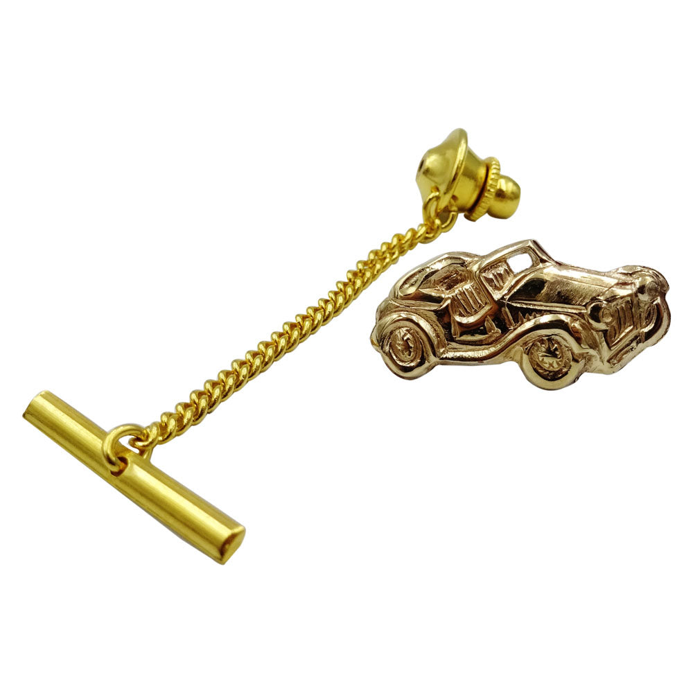 9ct Yellow Gold Vintage Unique Car Broche With Fine GP Safety Chain 1.24g - Richard Miles Jewellers