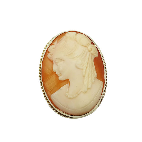 9ct Yellow Gold Vintage Pink Cameo Brooch Pendant 9.3g - Richard Miles Jewellers