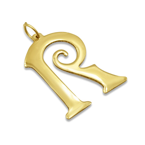 9ct Yellow Gold Fancy R Large Initial Pendent