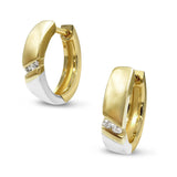9ct Two Coloured Gold Diamond Earrings