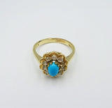 9ct Yellow Gold Oval Turquoise CZ Cluster Flower Design Ladies Ring Size Q - Richard Miles Jewellers