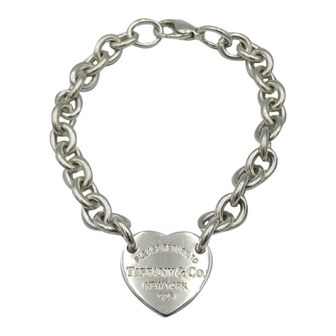 Tiffany & Co Authentic 925 Sterling Silver Heart Charm Ladies Bracelet 8inch