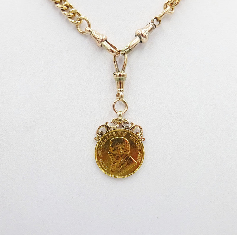 9ct Rose Gold Albert 16inch Chain & 22ct Yellow Gold 1898 South African Pond 22mm - Richard Miles Jewellers