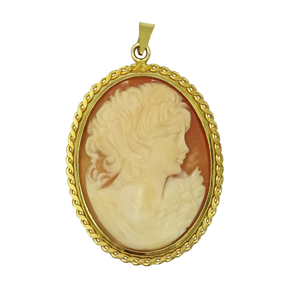 9ct Yellow Gold Oval Detailed Border Cameo Ladies Pendant 49mm 5.8g - Richard Miles Jewellers