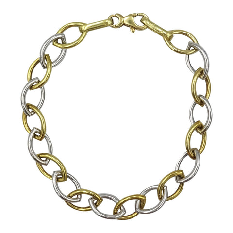 18ct 2 Colour Yellow White Gold Open Oval Link Bracelet 7.5inch 6.4g - Richard Miles Jewellers