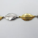 9ct 2 Colour Yellow White Gold Unique Leaf Ladies Bracelet 7.5inch 8.3g - Richard Miles Jewellers