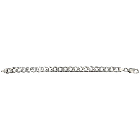 9ct White Gold Smooth Flat Curb Bracelet 7.5inch 8.15mm 17.4g - Richard Miles Jewellers