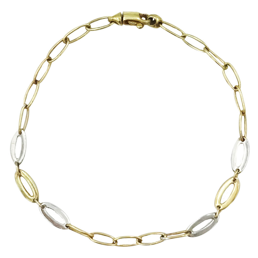 9ct 2 Colour Yellow White Gold Oval Link Ladies Bracelet 7.5inch 3.5g - Richard Miles Jewellers
