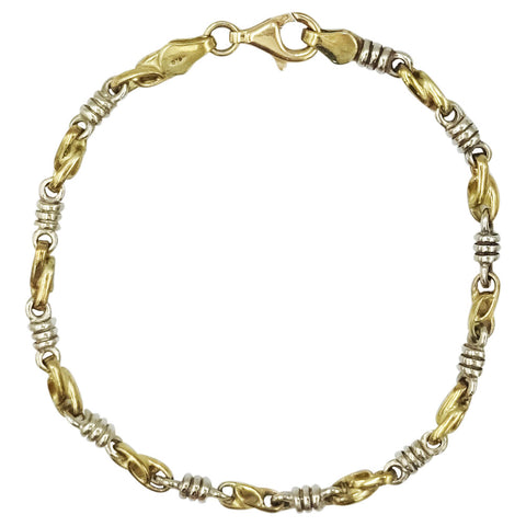9ct Yellow White Gold Twist Solid Ladies Bracelet 7.25inch 8.8g - Richard Miles Jewellers
